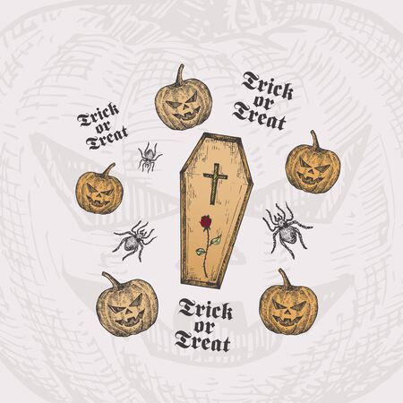Trick or Treat Halloween Vector Background or Card Template. Hand Drawn Coffin with Cross and Rose and Pumpkins with Spider Sketch and Vintage Typography. Holiday Decorative Composition.