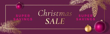 Christmas Sale Abstract Vector Frame Greeting Banner or Holiday Card Background. Banner Size. Classy Colors with Gold Gradient and Typography. Realistic Balls and Sketch Fir-needles Strobile. Çizim