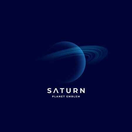 Saturn Planet Abstract Vector Sign, Emblem or   Template. Shaded Sphere with Lights Circles on Dark Space Background. Transparent Shape Planet Icon with Modern Typography. Illusztráció
