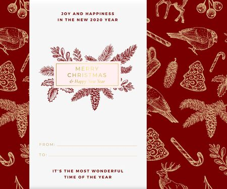 Christmas vector banner template. Xmas decorative sketch pattern background layout. Winter season wishes trendy rectangle frame with Christmas Illustrations. December holiday greeting card design