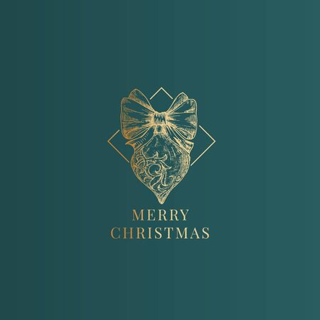 Merry Christmas Abstract Vector Classy Label, Sign or Card Template. Hand Drawn Golden Decorated Rhombus Toy Sketch Illustration with Vintage Typography. Premium Green Background