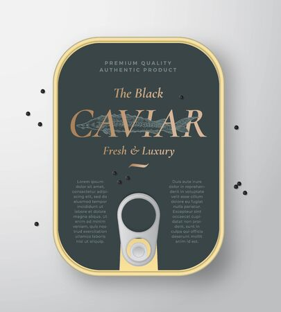 Black Caviar Seafood Vector Can Container with Label Cover Template. Hand Drawn Sturgeon Fish Illustration with Golden Retro Typography and Realistic Caviar Drops. Canned Packaging Design Layout.