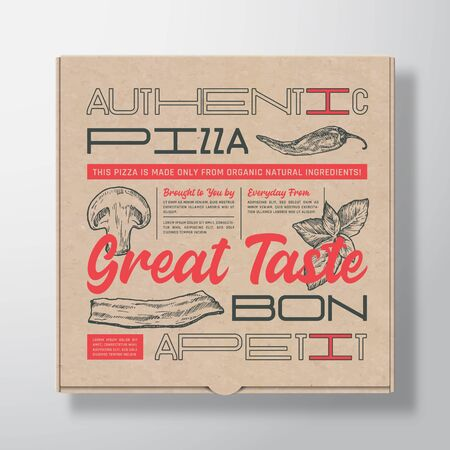 Pizza Realistic Cardboard Box Container. Abstract Vector Packaging Design or Label. Modern Typography, Hand Drawn Ingredients Mushroom, Basil, Bacon and Chilly. Craft Paper Background Layout.