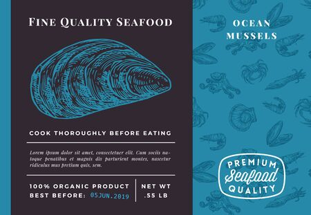 Premium Quality Seafood Abstract Vector Mussel Packaging Design or Label. Modern Typography and Hand Drawn Sketch Seamless Pattern Background Layout of Shrimps, Clams, Scallops, Squids and Crabs.