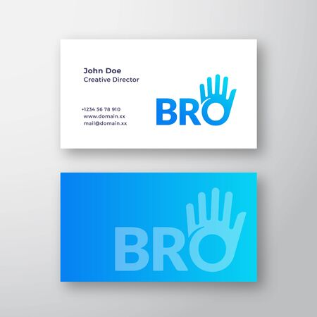 Bro or Brother Abstract Vector Sign or Business Card Template. Brotherhood or Team Lettering Icon. High Five Palm Hand with O Letter Incorporated. Premium Stationary Realistic Mock Up.