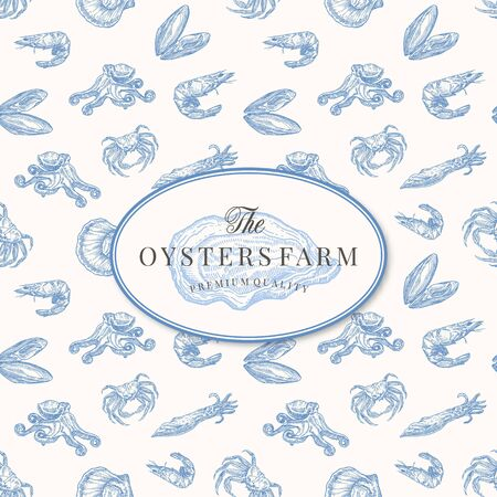 The Oysters Farm Abstract Vector Sign, Symbol or Template. Elegant Opened Oyster Drawing Sketch with Seafood Seamless Pattern Background. Clams, Shrimps, Crabs, Squids and Octopus.