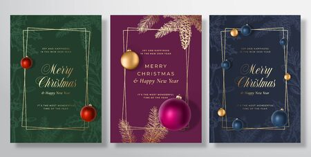 Christmas Abstract Vector Greeting Cards, Posters or Holiday Backgrounds Bundle. Classy Gold Gradients Typography Set. Soft Shadows Realistic Toy Balls and Sketch Fir-needles with Strobile.