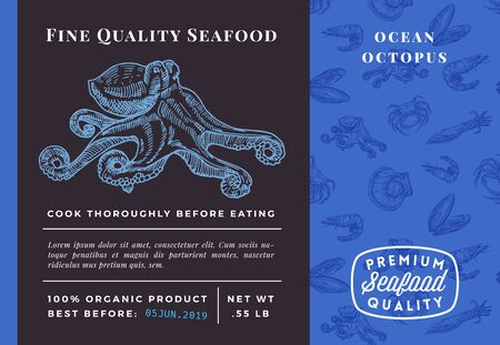 Premium Quality Seafood Abstract Vector Octopus Packaging Design or Label. Modern Typography and Hand Drawn Sketch Seamless Pattern Background Layout of Shrimps, Scallops, Squids and Crabs
