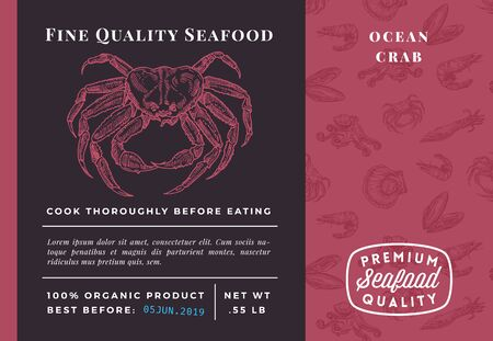 Premium Quality Seafood Abstract Vector Crab Packaging Design or Label. Modern Typography and Hand Drawn Sketch Seamless Pattern Background Layout of Prawns, Scallops, Squids and Crabs