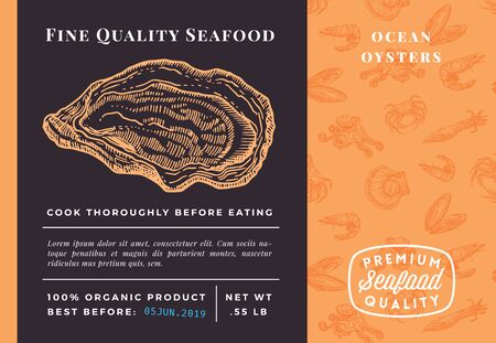 Premium Quality Seafood Abstract Vector Oysters Packaging Design or Label. Modern Typography and Hand Drawn Sketch Seamless Pattern Background Layout of Shrimps, Clams, Scallops, Squids and Crabs 向量圖像