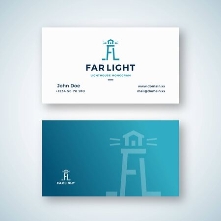 Far Light Abstract Vector Sign or Business Card Template. Searchlight Tower Symbol from A and L letters with Typography. Lighthouse Building Monogram. Premium Stationary Realistic Mock Up.