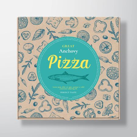Anchovy Fish Pizza Realistic Cardboard Box. Abstract Vector Packaging Design or Label. Modern Typography, Sketch Seamless Pattern of Cheese, Tomato, Sausages. Craft Paper Background Layout.