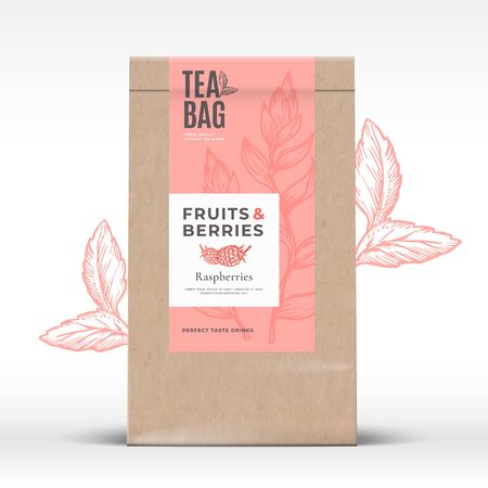 Craft Paper Bag with Fruit and Berries Tea Label. Abstract Vector Packaging Design Layout with Realistic Shadows. Modern Typography, Hand Drawn Raspberry and Leaves Silhouettes Background. Foto de archivo - 138241620