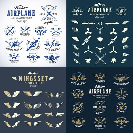 Airplane Retro Labels Construction Bundle. Plane Propellers Set with Wings Symbols, Shields Icons and Decorative Elements.Vintage Style Typography and Shabby Textures. Isolated.