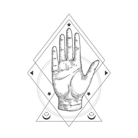 Abstract Occult Symbol, Vintage Style or Tattoo Template. Hand Drawn Palm Hand Sketch Symbol and Geometric Palmistry or Chiromancy Mystical Magic Ornaments and Signs. Illustration