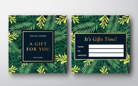 Tropical Forest Leaves Abstract Vector Gift Card, Banner or Invitation Template. Monstera Palm Leaf, Fern and other Foliage Background with Retro Golden Typography Frame. Back and Front Design Layout