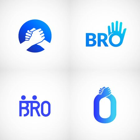 Informal Greeting Handshake Abstract Vector Sign, Emblem or Templates Bundle. Brotherhood or Team Lettering Icon. Friendly High Five Palm Hand with O Letter Incorporated.