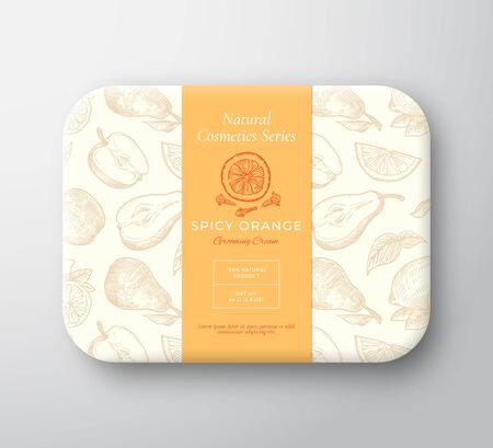 Spicy Orange Bath Cosmetics Package Box. Abstract Vector Wrapped Paper Container with Label Cover. Packaging Design. Modern Typography and Hand Drawn Fruits, Clove Background Pattern Layout.
