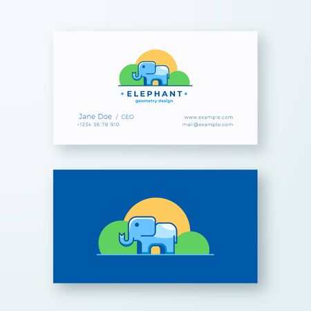 Elephan Geometry Design. Abstract Vector Sign and Business Card Template. Premium Stationary Realistic Mock Up. Colorful Tiny Animal Silhouette with Modern Typography.