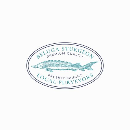 Fish Vintage Frame Badge Template. Hand Drawn Sturgeon ro Beluga Sketch Emblem with Retro Typography.