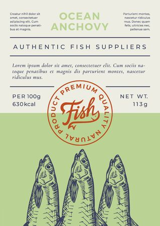 Ocean Fish Abstract Vector Packaging Design or Label. Modern Typography Banner, Hand Drawn Anchovy Silhouette with Lettering   Stamp. Color Paper Background Layout.