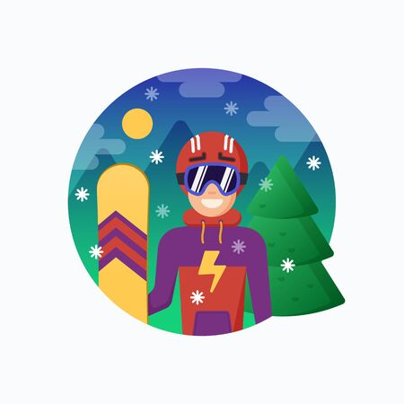 Smiling Snowboarder in Helmet with Snowboard. Vector Flat Style Illustration with Mountains and Pine Snowy Background. Skiing Instructor or Guide. Outdoor Action Sports Icon or Banner.