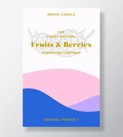 Aroma candle vector label template. Fruits and berries scent from local purveyors advert design. Raspberry sketch background layout with abstract waves decor. Natural smell product package text space