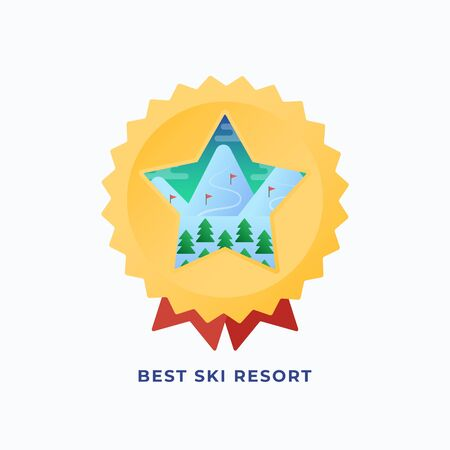 Best Snowboard Resort Medal. Vector Flat Style Illustration with Mountains and Pines Ski Routes Background. Star Rating Reward or Badge. Outdoor Action Sports Icon or Banner.