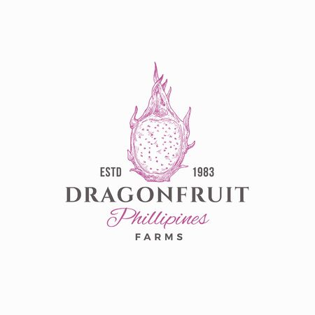 Dragon Fruit Farms Abstract Vector Sign, Symbol or   Template. Hand Drawn Sketch Dragon Fruit with Retro Typography. Vintage Luxury Emblem. Illustration