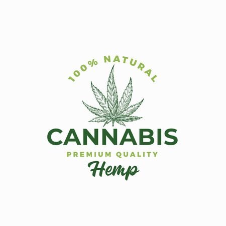Premium Quality Hemp. Cannabis Abstract Vector Sign, Symbol or Template. Hand Drawn Green Marijuana Leaf Sketch Silhouette with Retro Typography. Vintage Medicine Herb Emblem.