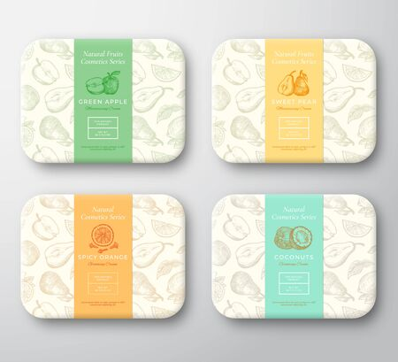 Apple, Pear, Coconut, Orange and Clove Spice Cardboard Boxes Set. Abstract Vector Wrapped Paper Cosmetics Container Label Cover. Packaging Design. Hand Drawn Fruits Background Pattern Layout. Ilustracje wektorowe