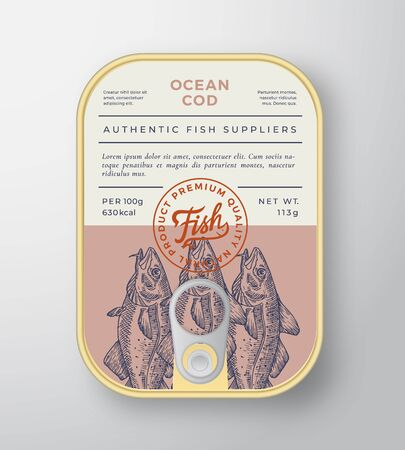 Canned Ocean Fish Abstract Vector Aluminium Container Packaging Design or Label. Modern Typography Banner, Hand Drawn Cod Silhouette with Lettering. Color Paper Background Layout. Vecteurs