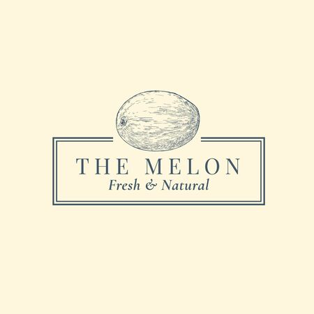 Melon Abstract Vector Sign, Symbol or Template. Hand Drawn Fruit Sillhouette Sketch with Elegant Retro Typography and Frame. Vintage Luxury Emblem.