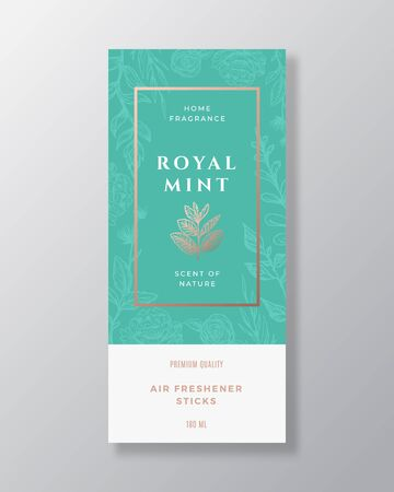 Mint Spice Home Fragrance Abstract Vector Label Template. Hand Drawn Sketch Flowers, Leaves Background and Retro Typography. Premium Room Perfume Packaging Design Layout. Realistic Mockup.