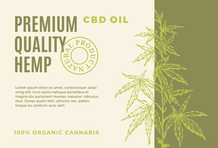 Premium Quality CBD Hemp Oil Abstract Vector Design Label. Modern Typography and Hand Drawn Cannabis Plant Branch with Leaves Sketch Silhouette Background Layout.