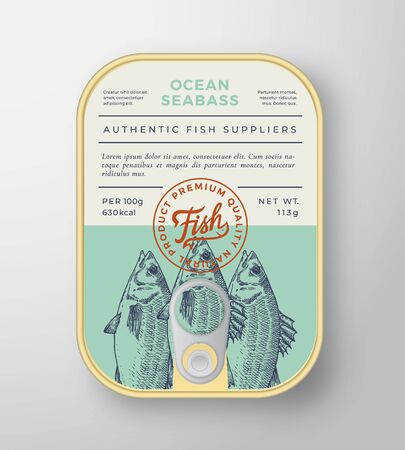 Canned Ocean Fish Abstract Vector Aluminium Container Packaging Design or Label. Modern Typography Banner, Hand Drawn Sea Bass Silhouette with Lettering  . Color Paper Background Layout.