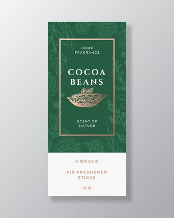 Cocoa Beans Home Fragrance Abstract Vector Label Template. Hand Drawn Sketch Flowers, Leaves Background and Retro Typography. Premium Room Perfume Packaging Design Layout. Realistic Mockup. 矢量图像