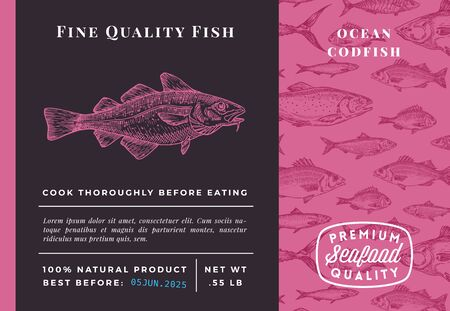Premium Quality Codfish Abstract Vector Crab Packaging Design or Label. Modern Typography and Hand Drawn Sketch Fish Pattern Background Seafood Layout