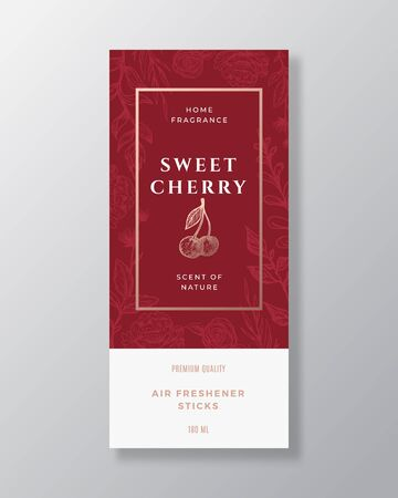 Cherry Home Fragrance Abstract Vector Label Template. Hand Drawn Sketch Berries, Flowers, Leaves Background and Retro Typography. Premium Room Perfume Packaging Design Layout. Realistic Mockup.