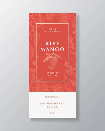Mango Home Fragrance Abstract Vector Label Template. Hand Drawn Sketch Flowers, Leaves Background and Retro Typography. Premium Room Perfume Packaging Design Layout. Realistic Mockup.