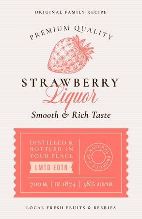 Family Recipe Strawberry Liquor Alcohol Label. Abstract Vector Packaging Design Layout.