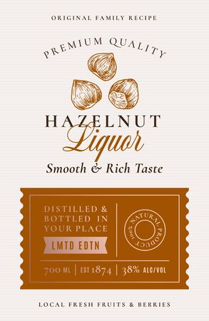 Family Recipe Hazelnut Liquor Acohol Label. Abstract Vector Packaging Design Layout. Modern Typography Banner with Hand Drawn Nuts Silhouette Logo and Background.