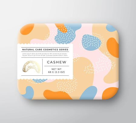 Nuts Bath Cosmetics Package Box. Vector Wrapped Paper Container with Care Label Cover. Packaging Design. Modern Typography and Hand Drawn Cashew. Abstract Camo Background Pattern Layout. Isolated.