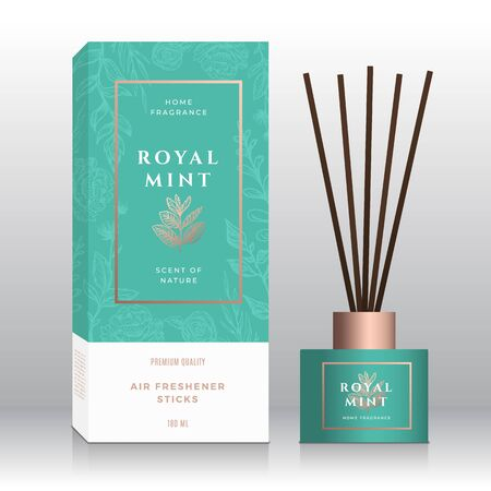 Mint Branch Home Fragrance Sticks Abstract Vector Label Box Template. Hand Drawn Sketch Flowers, Leaves Background. Retro Typography. Room Perfume Packaging Design Layout. Realistic Mockup.