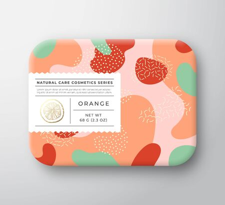 Orange Bath Cosmetics Package Box. Vector Wrapped Paper Container with Care Label Cover. Packaging Design. Modern Typography and Hand Drawn Citrus. Abstract Camo Background Pattern Layout.