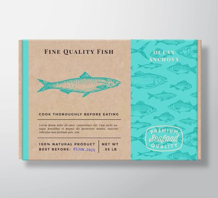 Fish Pattern Realistic Cardboard Container. Abstract Vector Seafood Packaging Design or Label. Modern Typography, Hand Drawn Anchovy Silhouette. Craft Paper Box Pattern Background Layout.
