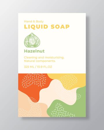 Liquid Soap Package Label Template. Abstract Shapes Camo Background Vector Cover. Cosmetics Packaging Design. Modern Typography and Hand Drawn Hazelnut Nut Sketch.