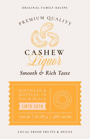Family Recipe Cashew Nuts Liquor Alcohol Label. Abstract Vector Packaging Design Layout.