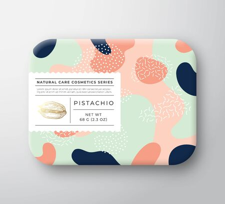 Nuts Bath Cosmetics Package Box. Vector Wrapped Paper Container with Care Label Cover. Packaging Design. Modern Typography and Hand Drawn Pistachio. Abstract Camo Background Pattern Layout.