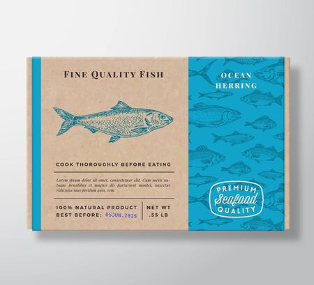 Fish Pattern Realistic Cardboard Container. Abstract Vector Seafood Packaging Design or Label. Modern Typography, Hand Drawn Herring Silhouette. Craft Paper Box Pattern Background Layout. Vettoriali
